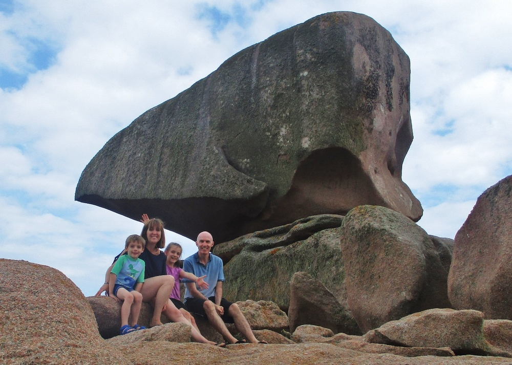 Adrian Caffrey and family on the Pink Granite Coast
