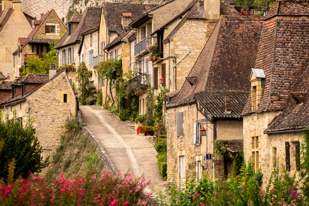 Historic buildings in the town of Le Bugue, Dordogne